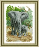 Wholesale Needlework DIY Cross stitch Sets For Embroidery kits Precise Printed elephants Patterns Counted Cross Stitching
