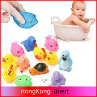 al por mayor bañera caucho de bebé-13pcs goma flotador Natación Juguetes de sondeo Crías de animales para niños Juguetes para el baño de lavado piscina de hidromasaje Soft Float de juegos de agua