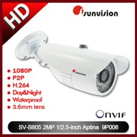 Cheap Sunvision Bullet Camera 1080P Outdoor Day Night IR Cut IP Camera P2P Plug Play Surveillance Camera Housing Onvif Free Shipping