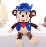 big red farm - 1PCS CM CM Big Size Stuffed Soft Plush Toys New Fashion Cowboy Monkey Dolls YZT0027