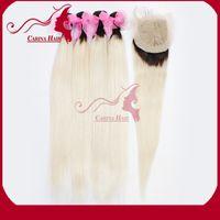 Cheap Ombre Hair Extensions Brazilian Virgin Hair Straight 4pcs With Closure Two Tone Ombre 1b 613 Hair Bundles 100% Human Hair Weave