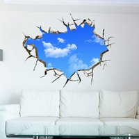 art decor stickers - 3D Blue Sky and White Cloud Scenery Window Art Design Removable Wall Sticker Living Room Home decals Decor Wallpaper HDE_01D