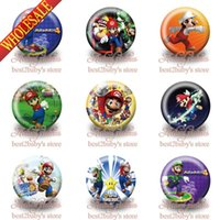 Wholesale styles cm inch Super Mario Bros fashion Cartoon Buttons pins badges Novelty Brooch Badges Kids party gifts favors