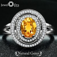 Cheap Genuine 925 Fine Jewelry Natural Citrine Ring 925 Sterling Silver Party Rings For Women (come with box) (JewelOra RI101418)