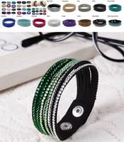 Wholesale Fashion Charm Double Circle Multilayer Leather Bracelets Men Women Bracelet Diamond Bracelet size X2cm