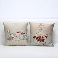 Wholesale 25 Styles Elk Pug Dinosaur With Hat Linen Square Throw Pillow Cover Home Car Decorative Pillow Case Sofa Cushion Cover For Christmas Decor