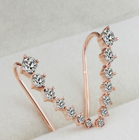 Wholesale Top Quality New Trendy Four Prong Setting pc Cubic Zircon Ear Hook Fashion Women Stud Earrings can mix color