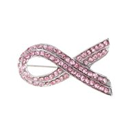 Wholesale Classic Pink Ribbon Breast Cancer Awareness Lapel Pins Women Rhinestone Brooch Crystal Brooches Pins Fashion Jewelry