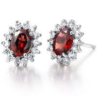 american cribs - Flammable volcano natural garnet earrings silver earrings Ms Crystal Sleeper Crib personalized jewelry tide