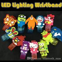 Wholesale 60pcs Cute Carton LED Lighting Wristband PVC Flashing Bracelets for Party Birthday Christmas Halloween Gifts