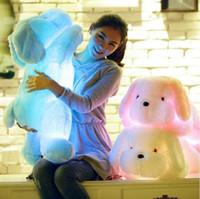 al por mayor juguetes de peluche perrito-Los perros brillantes coloridos al por mayor-50cm peluche luminoso de peluche suave juguetes kawaii animales de peluche cachorro llevado luz partido de regalo de cumpleaños