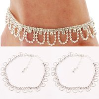 Cheap 1PC White Elegant Rhinestone Foot Chain Women Girls Bead Chain Pendants Ankle Bracelet New Fashion Jewelry Body-0122-WT