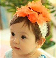 Wholesale New Baby Girls Flower Lace Headband Soft Elastic Hairband Hairlace Hair Decoration Colors
