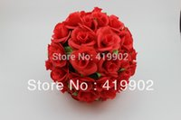 Wholesale 25cm inch Artificial Kissing Pomander Rose Flowers Ball Bouquet Wedding Party Christmas Decoration Colors Available