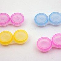 Wholesale US pupil transparent companion box transparent colorful plastic contact lens case double box Contact Lens Storage Set B0037