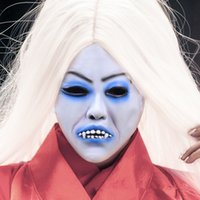 big hair halloween costumes - Cosplay Movie Bride with white hair devil ghost Zombie Mask Halloween Mask Head Creepy Scary Trick Prank toy costume party prop Adult toy