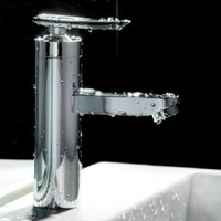 bathroom tap handles - 2015 new hot pcsBrushed Chrome Waterfall Bathroom Basin Faucet Single Handle Sink Mixer Tap New