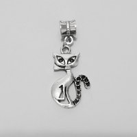 big pussy - Antique tibetan silver bail pendant jump ring pussy cat charms necklace big hole beads spacer W Loop leather cords tube jewelry making set