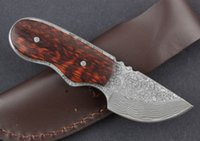 Wholesale Serpentine Wood Damascus mini dagger Outdoor sport camping hunting knives good Boutique knife Straight Knife