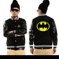 batman fleece - Fall Western countries cotton Batman bat man baseball Jerseys leather fleece jackets Superman Design hoodies movie theme of character