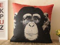 Wholesale Vintage Design x45CM x50cm Cushion Linen Funny Black Chimpanzee Facial Pillow Case Home Decor Cushion Cover