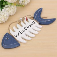 Wholesale Mediterranean Fish Bones Wood Door Welcome Decoration Plaque Stores Listed Home Decorative Wall Wood Crafts