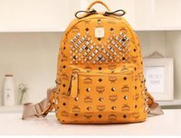 Wholesale MCM Backpack Styles Shoulder Bags Travelling Bags Rivet Design with Zippers Color