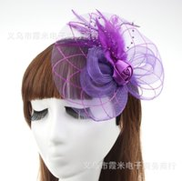Wholesale MEW Fashion Fascinators Mini Top Hat Hair lace feathers Wedding Party Hair Accessories color F018