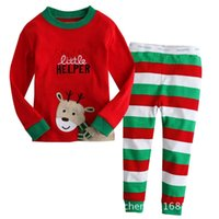 Wholesale Foreign trade embroidery Fawn Christmas money boys and girls children s long sleeved pajamas tracksuit Santa Claus suit