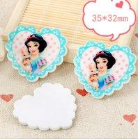 aqua princess phone - Aqua Heart Shape Jewelry Planar Resin Cartoon Inspired Princess Image Printed Resin Cameo Craft Phone Stickers