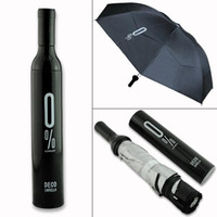 Wholesale Free DHL hot sale Portable Creative Fashion Three Folding Wine Bottle Sun rain Umbrella Gift