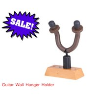 wooden stand - Guitar Holder Universal for Guitar Bass Ukelele Wall Hanger Stand Hook with Rubber Arms Wooden Base Guitar Accessories I681
