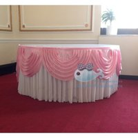 Wholesale Ice Silk Table Skirt With Pink Color Swags Good Looking Table Skirting For Wedding Used For Round Or Rectangular Tables