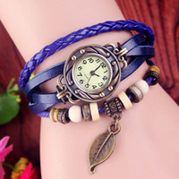 Wholesale Women Leather Vine Watch Leaf Pendant Bracelet Wristwatches Colors Retro Vine Leaf Pendant Weave Wrap Quartz Watch Best Gift