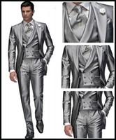 Reference Images grey suit vest - Custom made Silver Grey Wedding Suits for Men Notch Lapel Groom Tuxedos Best Man Groomsman Mens Wedding Suits Bridegrooms Jacket Pants Vest