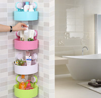 Wholesale bathroom solid color single tier multipurpose shelf plastic wall mounted type Powerful suction bathroom corner shelves