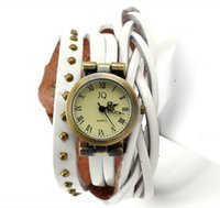 Wholesale In the long woven leather strap female quartz watch high quality fashion strap around the wrist two or three ring