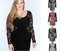 plus size clubwear - Plus Size Women Clothings Long Sleeve Casual Bodycon Dresses DHL Free Ship Big Size XL XLFall Spring Clubwear Party Lace Dress