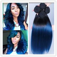al por mayor virgen de la extensión del pelo humano ombre azul-Extensiones 3Pcs baratas / porción 8A peruana Virgen recta Ombre negro y azul del pelo 1b / azul de dos tonos que teje del pelo humano del envío libre