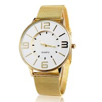 Wholesale 2014 hot sale simple fashion brand name watch women golden alloy mesh band rose gold big dial quartz watch thin new female clock