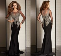 beaded nylon strap - 2016 Amazing Black Mermaid Evening Dresses With Long Sleeves Chiffon Tulle Applique Lace New Cheap Prom Pageant Formal Party Dress Gown
