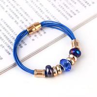 Wholesale DIY beaded bracelet new beads magnetic buckle leather cord bracelet fit bracelet