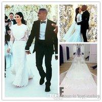 Cheap 2014 Kim Kardashian White A Line Wedding Dresses Sexy Jewel Chapel Train Lace Bridal Gowns Sheer Back Long Sleeve Lace Dresses WJ092602