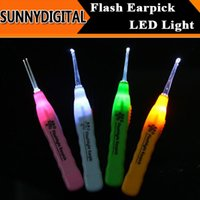 Wholesale Special Offer New Ear Cleaner Earwax Spoon Clean LED Light Flashlight Earpick DHL Shipping in Stock