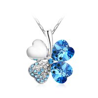 clover necklace - 20pcs colors Clover Petal Pendant Necklace Four Leaf Clover Crystal Rhinestone Necklace christmas gIFT