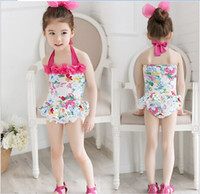 Wholesale 2016 New Arrival Baby Girl One Piece Swimwear Kids Floral Printed Swimsuit Fashion Girl Swim Clothing Cute Girl Beach Clothes Color Size