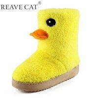 Nueva llegada 2015 botas de las señoras del otoño invierno del tobillo de la mujer botas de nieve dulce manera de la historieta del pato amarillo Chica caliente precioso Venta en