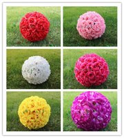 balls of flowers wedding - 12 inch cm Artificial Simulation of high quality encryption kissing rose flower ball for the New Year festive Wedding Decorations bouquet