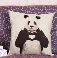 Wholesale Cushion Covers Love Panda Print Linen Cotton Pattern Kung Fu Panda Pillow Case Home shop Decor cm gift Home Textiles