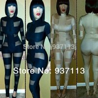 Cheap 2014 Hot Selling Women Celebrity Bodycon Jumpsuit Patchwork Mesh Perspective Bandage Dress Newfangled Bodysuit Evening Rompers
